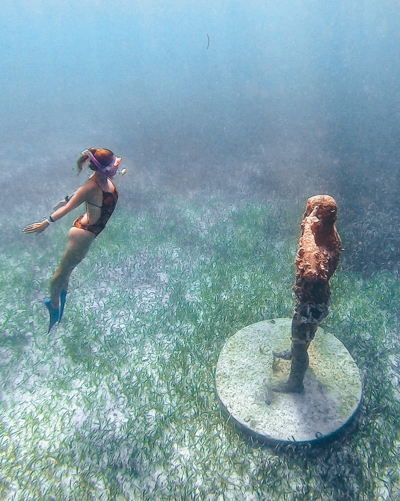 Woman Freediving Jungle Tour MUSA Cancun Mexico North America