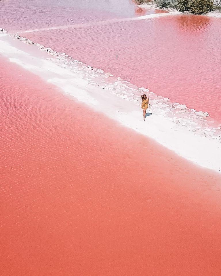 Laguna Rosa Drone Yucatan Mexico North America