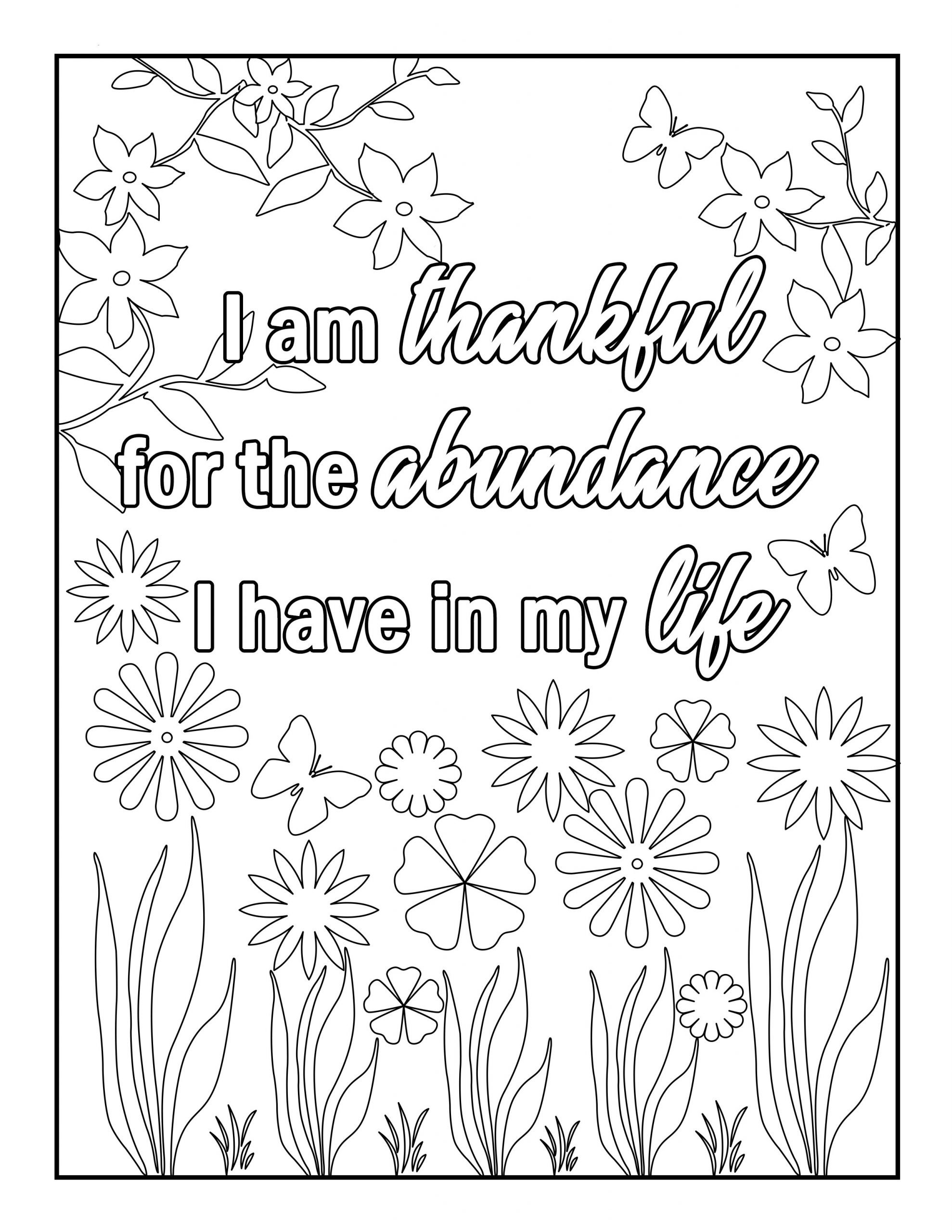 Gratitude Affirmations Coloring Book For Adults