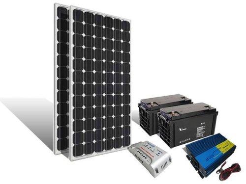Energie solara Kit solar fotovoltaic 300w/6ore ( 2 x panou solar 160w , 2 x baterie solara 100A , controler 12v/30A , inverter 12v/500w )