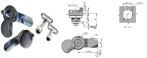 Tablouri electrice Incuietoare 705-3A/3 – tablou metalic cu cheie triunghi 8mm si capac