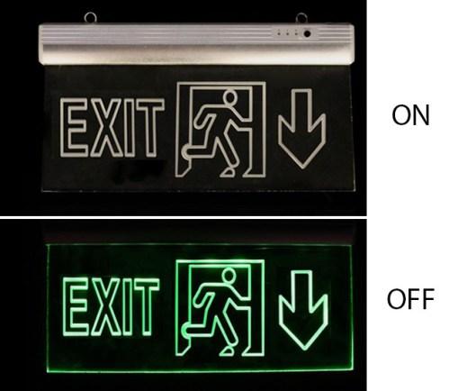 Corp iluminat urgenta - EXIT Klass 5113 – Lampa EXIT Led 3w (6×0,5w / 360x200x22mm) – sageata jos