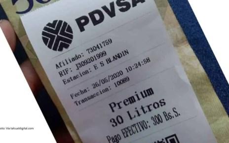 El recibo de pago emitido durante la prueba del nuevo sistema de pago de gasolina