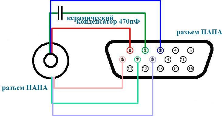 распиновка VGA для пайки адаптера под тюльпан