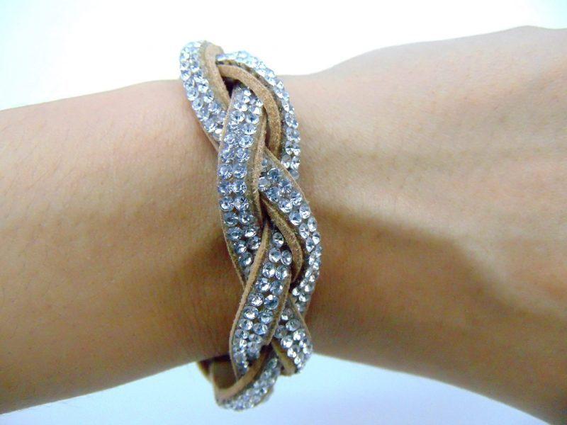 Bracelet bandes de strass torsadées