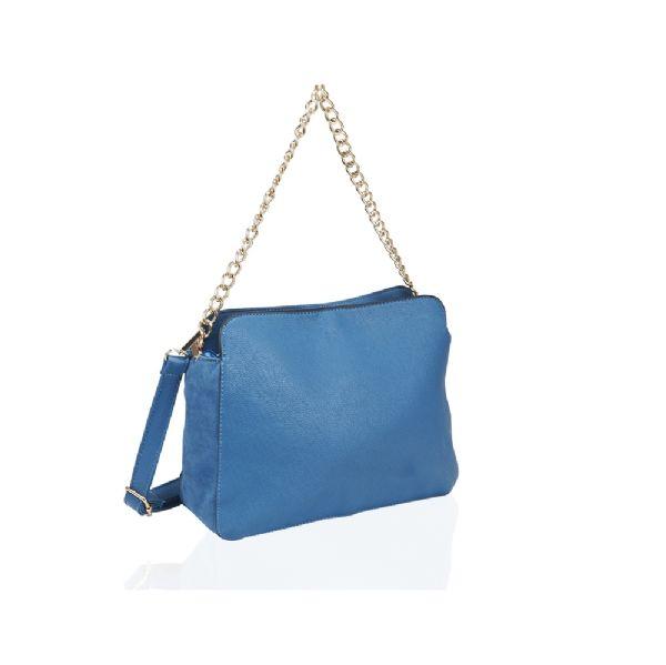 sac a main bleu suede chaine dore
