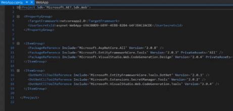 Microsoft AspNet Core All dependencies .csproj file