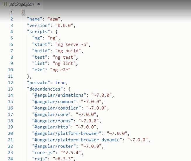 application's dependencies in angular package.json