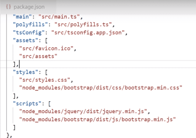 Bootstrap and JQuery declaration in package.json