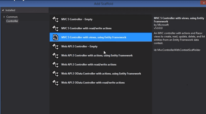 MVC controller with views, using Entity Framework