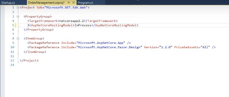 InProcess in asp.net core