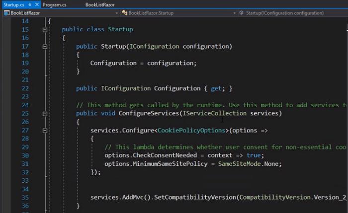 startup.cs in asp.net core
