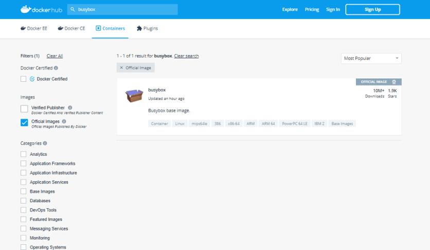 BusyBox docker repository