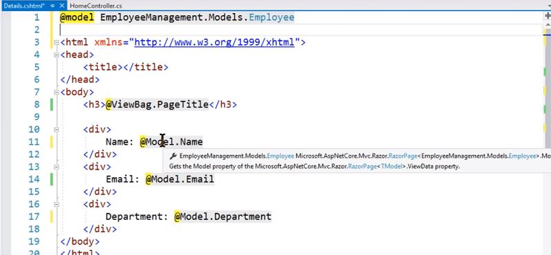Model object in asp.net core mvc