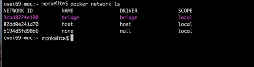 docker network list