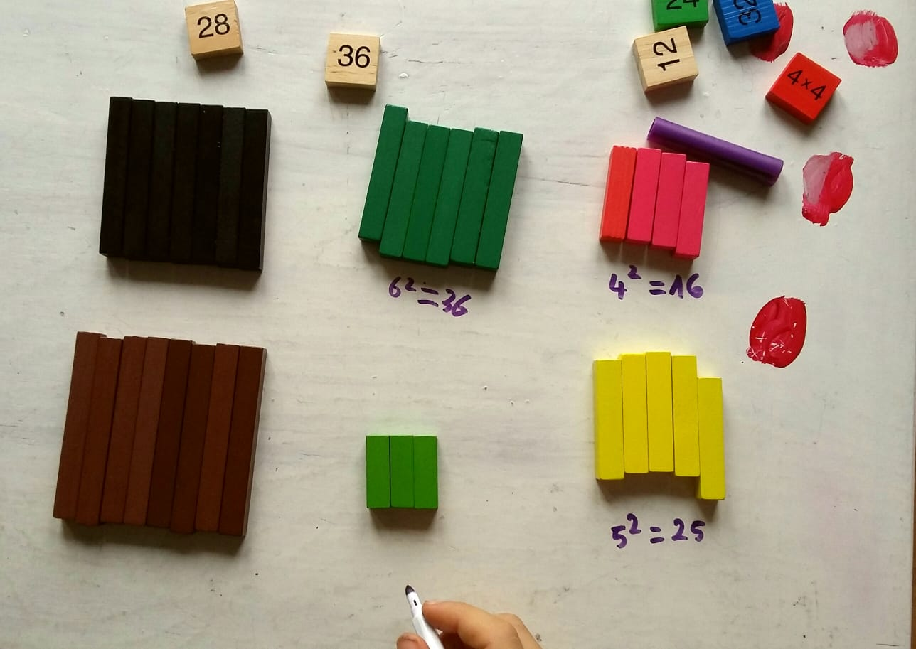 Square roots  with cuisenaire rods