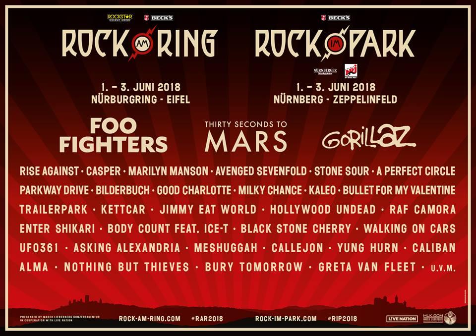 Rock Am Ring Rock Im Park 2018 Mit Erster Bandwelle