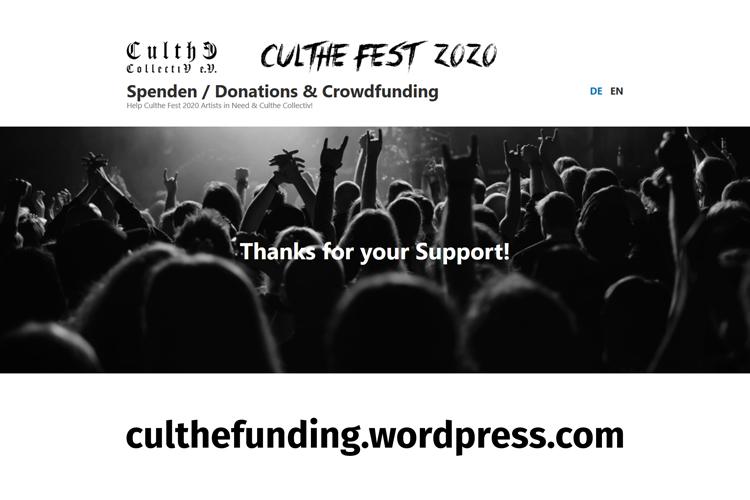 CULTHE FEST auf 2021 verschoben - CULTHE COLLECTIV startet Spenden- und Crowdf...