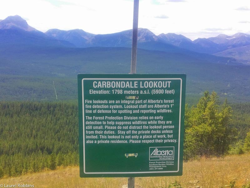 Information about the Carbondale Fire Lookout overlooking the Canadian Rocky Mountains
