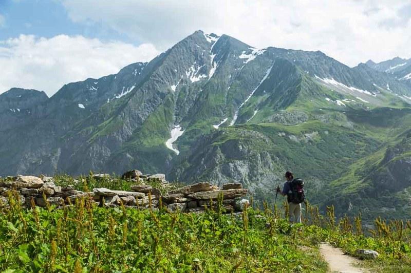 hiker on the Tour du Mont Trek
