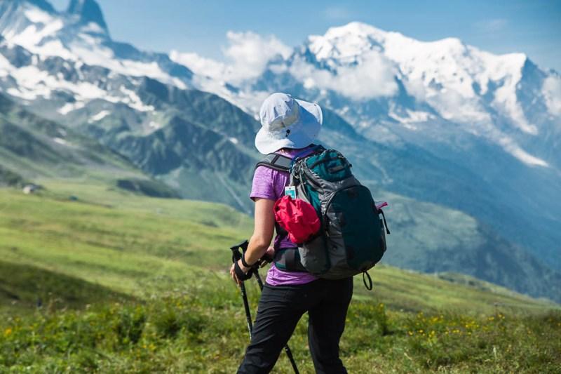 hiker looking at Mount Blanc