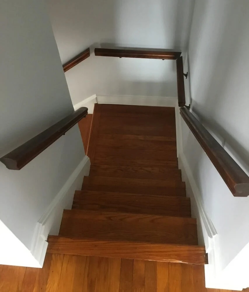 Refinishing Hardwood Stairs Before After Stair Remodel Ideas   Wooden Floor And Carpet On Stairs   Carpet Runner   Downstairs   Middle Stair   Popular   Wood Riser