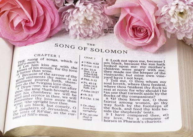 Bible opened to The Song of Solomon with pink flowers laid across the top of the page.
