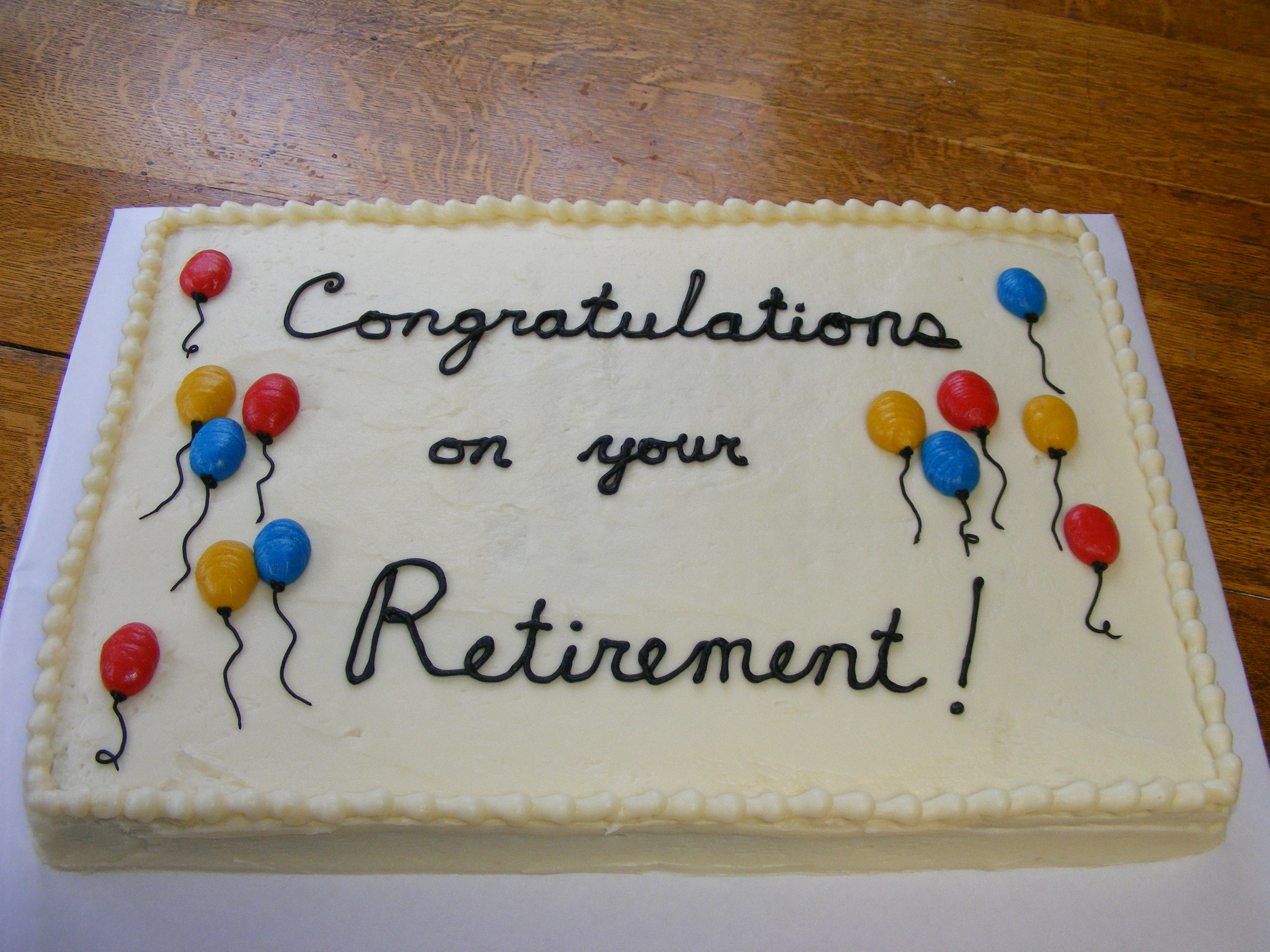 Retirement Cake With Balloons