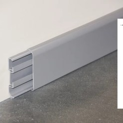 Plinthe passe-câbles PVC gris - ouvert + schéma