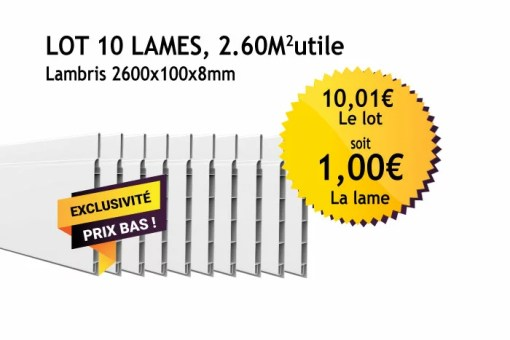 Lambris PVC blanc - 100mm - Lot de 10 lames
