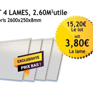 Lambris PVC blanc - 250mm - Lot de 4 lames