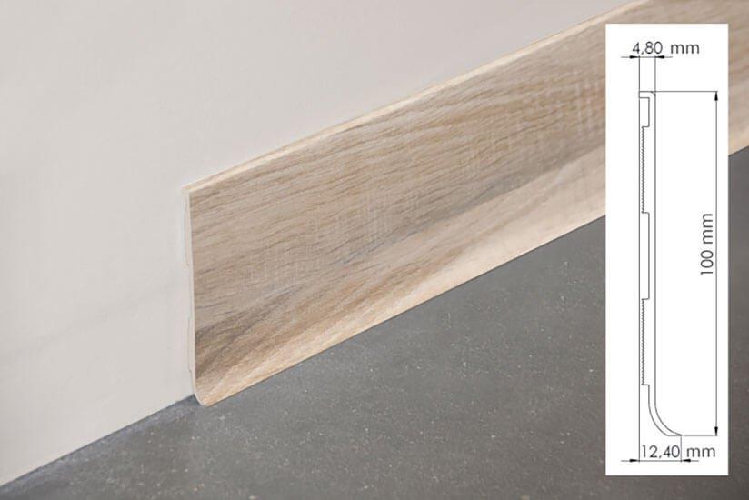 Plinthe à lèvre rigide PVC chêne naturel avec dimensions