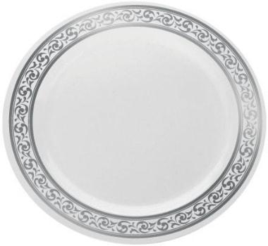 bettina assiette jetable plastique rigide o 23 cm vaisselle luxe bord motif argente gaufre