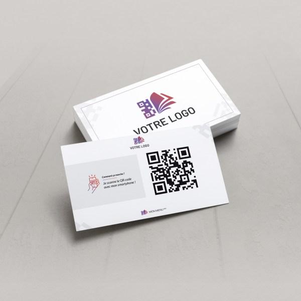 Visuel d'une carte de visite avec le QR code pour pouvoir accéder au menu digital et au cahier de rappel digital