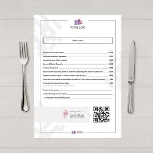 Visuel d'un menu du jour avec le QR code pour pouvoir accéder au menu digital et au cahier de rappel digital