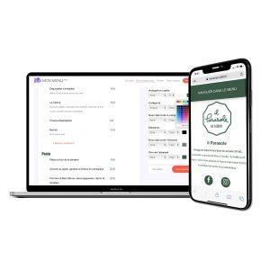 visuel ordinateur avec la plateforme mon menu digital et visuel d'un téléphone avec un menu digital affiché