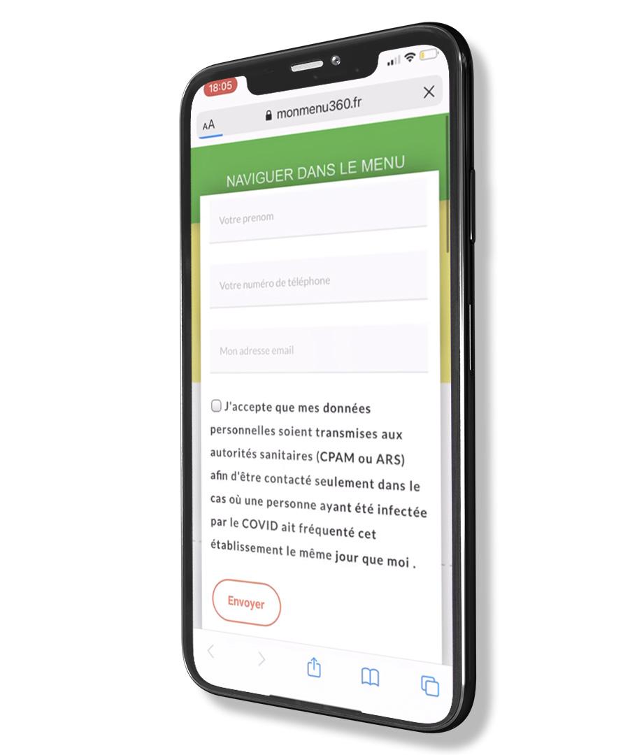 Vue d'un téléphone avec le cahier de rappel digital