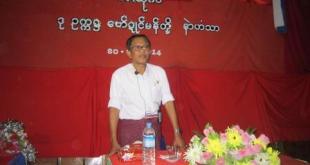 Nai Hong Sar seen at a recent public meeting in Pa-nga village, Mon state.