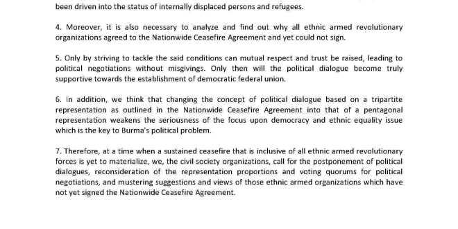 100 Csos Urge Reconsideration Of Representation In Upcoming Peace