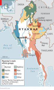 Map of Myanmar/Burma with major ethnic groups (photo:the Economist )