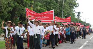Locals marching in protest of the Long Life Aggregate Mining Co. Ltd (Photo: MNA)