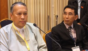 U Hla Maung Shwe (left) and Khun Oo Reh at Friday's press conference (Photo: MNA)