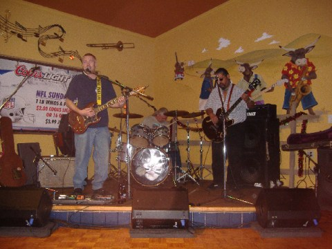 The Aaron Howell Band (Aaron's on the left) led things off with straight-ahead blues-based rock, mostly covers.