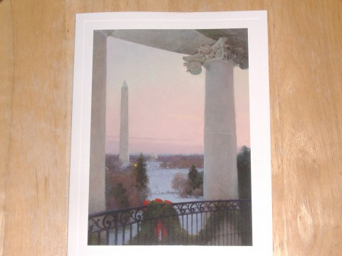 The 'photo' on the outside of the card is actually an oil-on-linen painting by artist T. Allen Lawson.