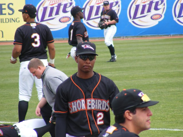 Early on this bemused look was common for Shorebirds second baseman L.J. Hoes, but he's got the hottest bat on the Shorebirds lately. Photo by Kim Corkran.