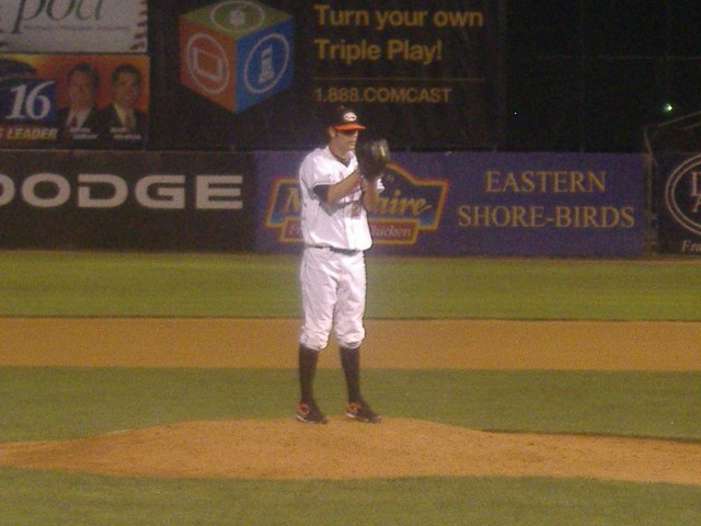 T.R. Keating has become a long-relief fixture for the Shorebirds as he was in this game against Hickory on July 2nd.
