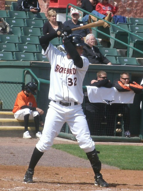 Garabez Rosa likes that high-bat stance, and so far it's worked well for him. This was taken April 18 against Hagerstown as well.
