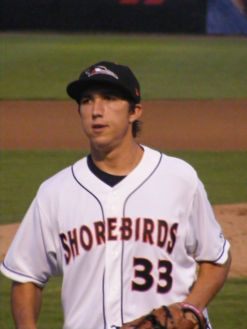 David Baker looked relieved to be through an inning, but in truth he has pitched well for Delmarva.