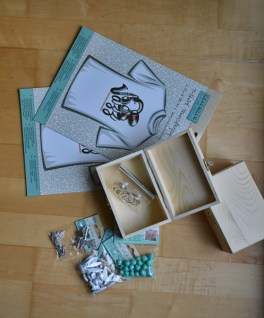 transferfoil, wooden boxes, keyrings, different beads and pendants