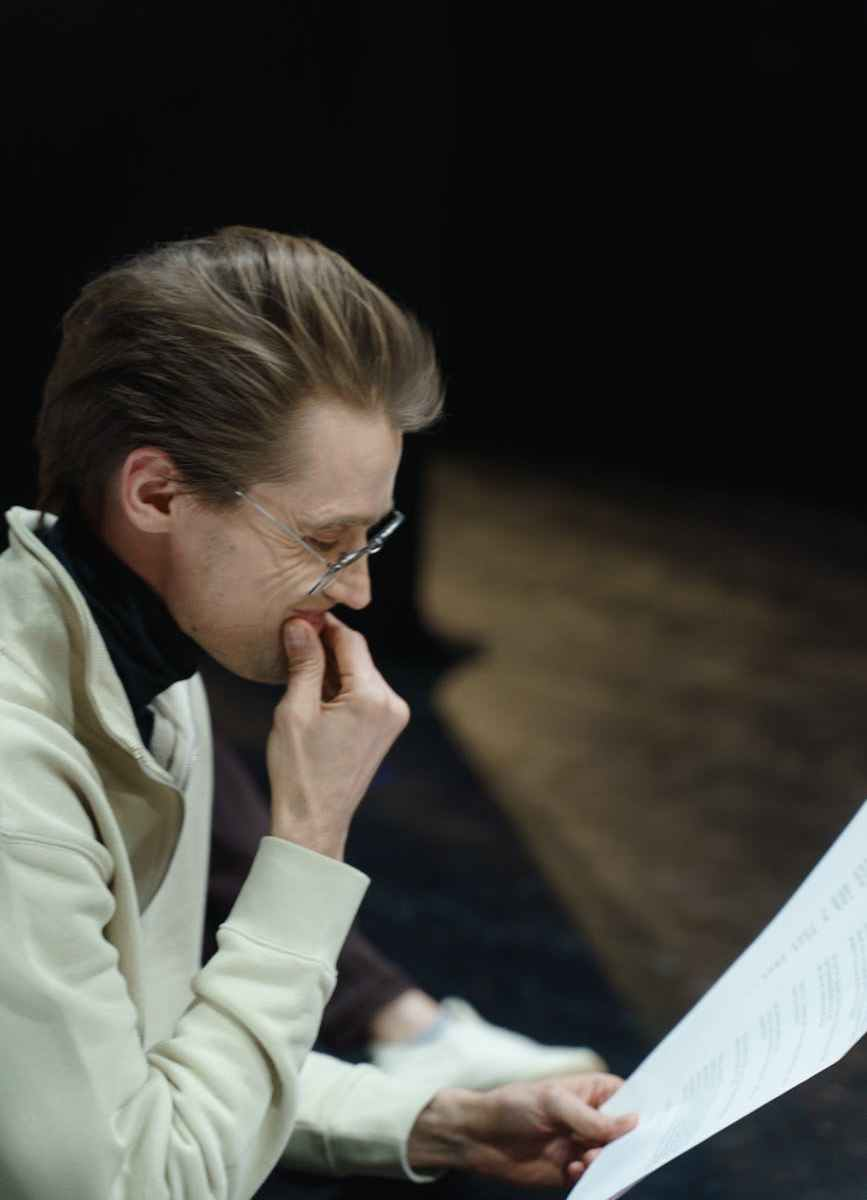 man reading a script